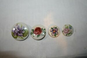 Set Of 4 Different Porcelain Flower Buttons Rose Peony Violet