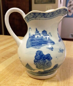 Vintage Chinese Export Blue White Canton Style Small Pitcher 11 75 Tall Excond