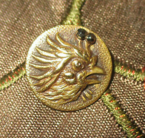 Antique Victorian Metal Picture Button Brass Rooster W Cut Steel Accent 9 16