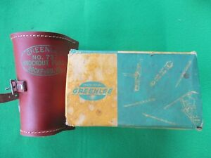 Greenlee No 737 Conduit Knockout Punch 1 1 2 2 Leather Holder in Box