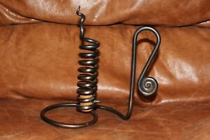 Primitive Country Vintage Reproduction Wrought Iron Courting Candlestick Holder