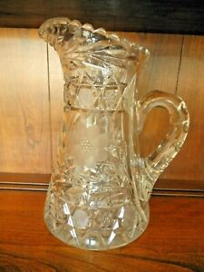 Antique Cut Glass Large Pitcher Pristine Cond Was My Grandmother S Born 1881
