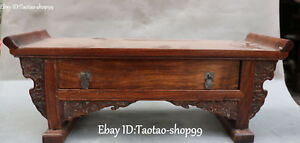 Exquisite China Rosewood Wood Carving Book Desk Secretaire Table Drawer Statue