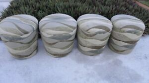 4 Mid Century Hollywood Regency Modern Karl Springer Souffle Stools Ottomans