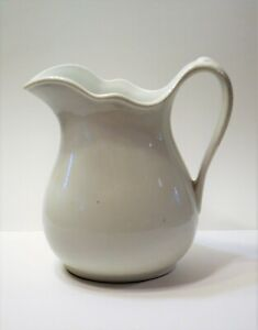 Vintage White Hall Usqmc Water Pitcher Large White Ironstone Pitcher 1934 Wwii