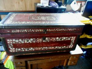 Antique Hand Painted Leather Covered Trunk With Brass Handles