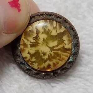 Vintage Celluloid And Brass Button 13 16 Yellow