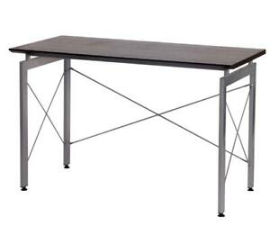 Modern Design Office Desk Workstation W Metal Frame Chocolate Finish Wood Top