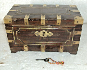 Old Wooden Handcrafted Indian Box With Key And Lock Multi Purpose Old Item