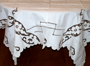 Spectacular Vintage Linen Cutwork Lace Tablecloth Floral Design Ex Cond C1930