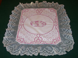 Fantastic Antique Cherub Figural Italian Cutwork Bobbin Lace Pillow Sham C1920
