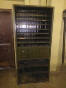 Lyons Industrial Metal 12 Drawer 88 Pigeon Hole Parts Bin Cabinet Shelf