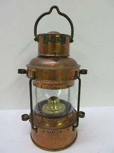 Vtg Anchor Brass Copper Ship Marine Lantern Very Good Condition