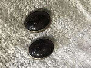 Vintage 2 Sterling Silver Black Gold Stone 3 4 Buttons 64 66