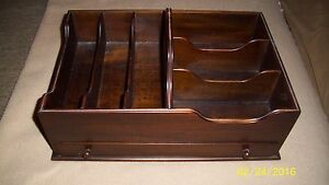 Solid Mahogany Desktop Organizer With 6 Compartments Drawer And Handle