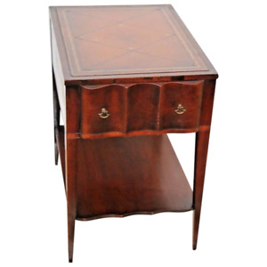 Antique French Tooled Leather Top Scallop Drawer Mahogany Lamp Table With Shelf