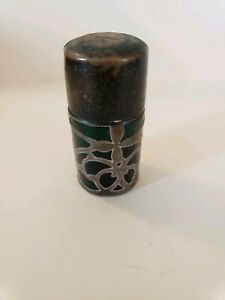 Stunning Vintage Perfume Bottle Green Glass With Sterling Silver Overlay