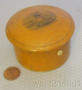 19c Antique Mauchline Ware Thread Box 3 Spool Holder French Cherbourg Napolean