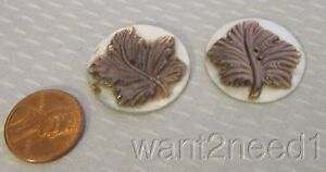 Antique French Cameo Carved Mother Of Pearl Leaf Buttons 2 Dark Light Shell 27mm