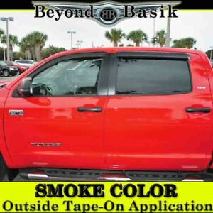 For 2007 19 2020 2021 Toyota Tundra Crew Max Smoke Door Vent Visors Rain Guards