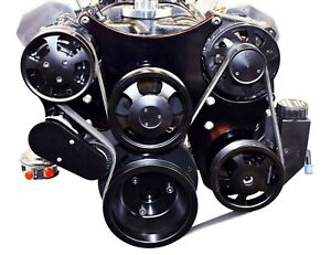 Black Small Block Chevy Serpentine Front Drive System Complete W P s Reservoir