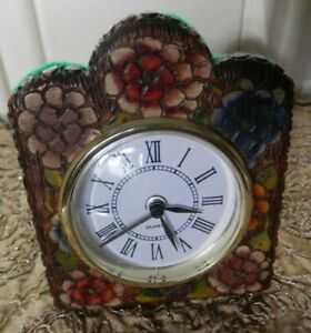 Antique Arts And Crafts Pyrography Poker Work Wooden Case And Quartz Alarm Clock