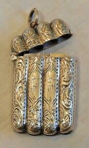 Antique English Sterling Silver With Etched Designs Match Safe Or Vesta Case