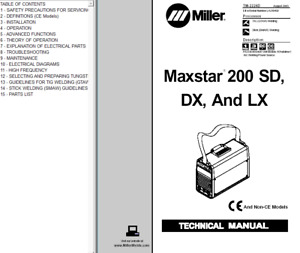 Miller Maxstar 200 Sd Dx And Lx Service Technical Manual