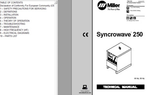 Miller Syncrowave 250 Hobart Cybertig 250 Service Technical Manual
