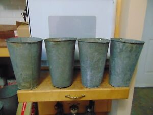 4 Maple Syrup Sap Buckets Old Galvanized Buckets Planters Flowers 6859