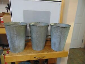 3 Maple Syrup Sap Buckets Old Galvanized Buckets Planters Flowers 6860