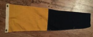 Antique Maritime Yellow Blue Navy Numeral Pennant Signal Flag 9 X 27 1 2