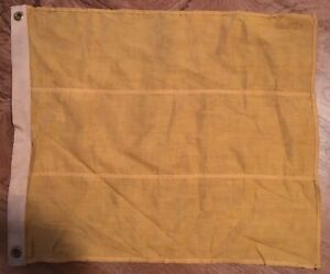 Antique Maritime Navy Square Solid Yelow Signal Flag 17 X 20
