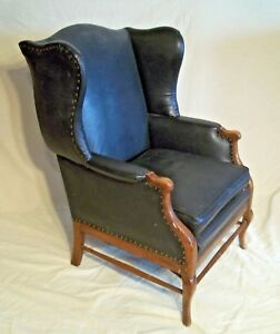 Mid Century Faux Black Leather Wing Back Chair With French Curved Leg