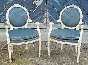 Vintage Pair Of Mid Century French Louis Xvi Carved Painted Oval Back Armchairs