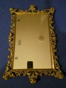 Vintage Ornate Brass Copper Mirror Tray French Style 20x13