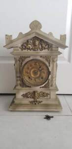 Rare Antique Vintage Ornate Brass Wood Ansonia Clock 11 25x5x18 25 Working