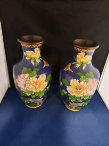 Pair Of Vintage Antique Chinese Cloisonne Vases 10 H
