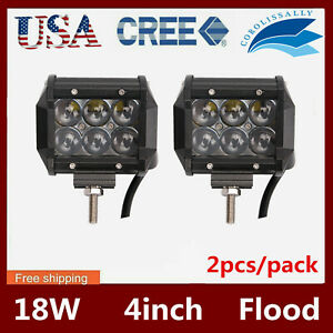 2x 4 18w Cree Led Work Light Bar Cube Pods Spot Driving Lamp For Jeep Truck Suv