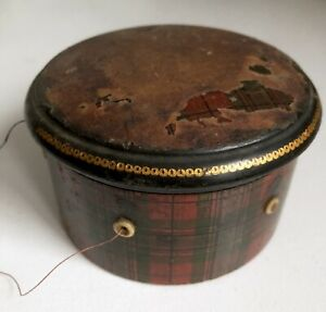 Tartan Ware Thimble Thread Case 4 5 Vtg Wood Sewing Tartanware