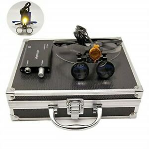 Dental 3 5x Binocular Loupes 3w Led Headlight W Filter Aluminum Box Black
