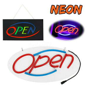 Led Open Shop Sign Neon Display Bar Studio Window Hanging Light Visual Artwork