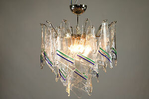 Vintage Mazzega Murano Glass Chandelier Pendant Light Handblown Unique Mcm