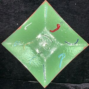 Enamel On Copper Mid Century Dish Abstract Swirls On Green 4 X 4