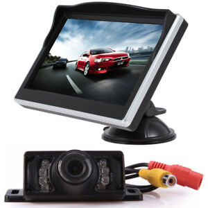 5 Tft Lcd Screen Hd Car Monitor With Ir Rear View Backup Reverse Camera System