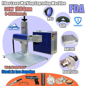 Usa 30w Split Fiber Laser Marking Engraver Rotary Axis With Raycus Laser Source