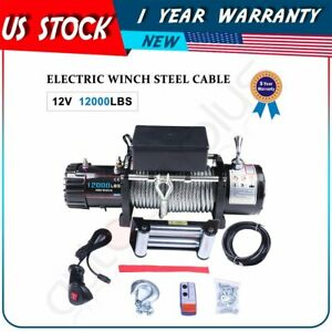 12000lb 5443kg 6hp Off road Electric Winch Towing Steel For Ford Chevrolet 12v