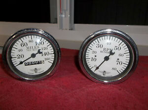 Used Stewart Warner Wings White Face 3 1 2 Tachometer Speedometer Gauges Set