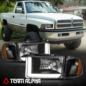 Fits 1994 2002 Dodge Ram 1500 2500 Led L Bar Drl Black 4p Headlight Amber Corner
