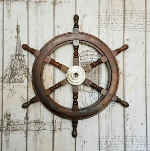 36 Inch Ship Wheel Steering Collectible Nautical Decor Brass Vintage Wall Boat